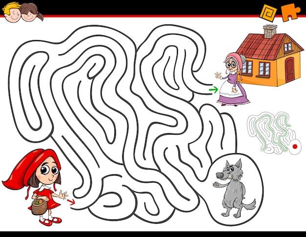 Cartoon-labyrinth-aktivität mit rotkäppchen Premium Vektoren