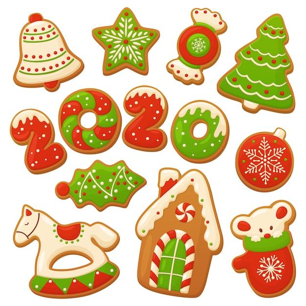 Cartoon lebkuchen. weihnachten vektorelemente Premium Vektoren