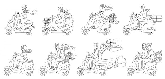 Cartoon-leute, die roller fahren - flache farblose gruppe von paaren und anderen Premium Vektoren