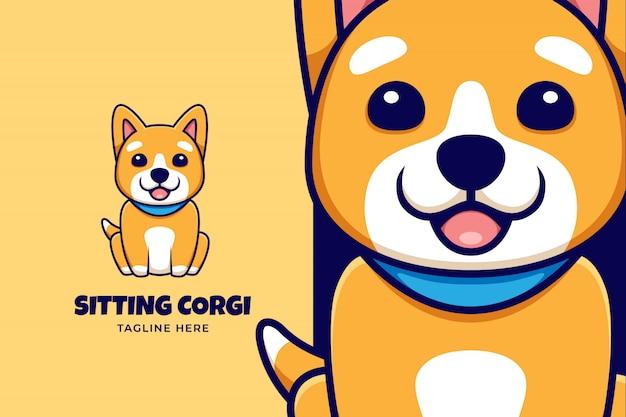Cartoon-logo mit niedlicher cartoon-corgi-illustration Premium Vektoren