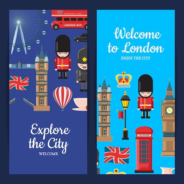 Cartoon london sehenswürdigkeiten banner set Premium Vektoren
