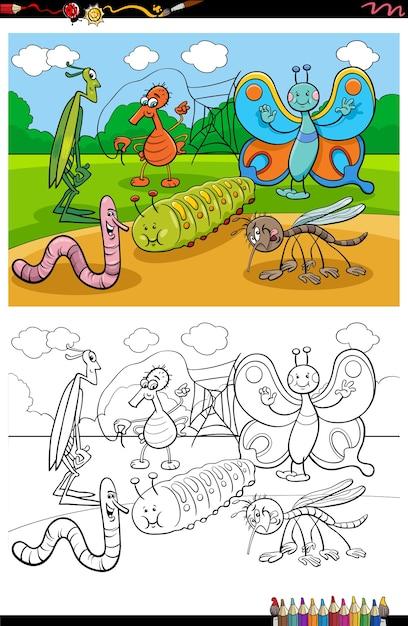 Cartoon lustige insekten und käfer gruppe malbuch seite Premium Vektoren