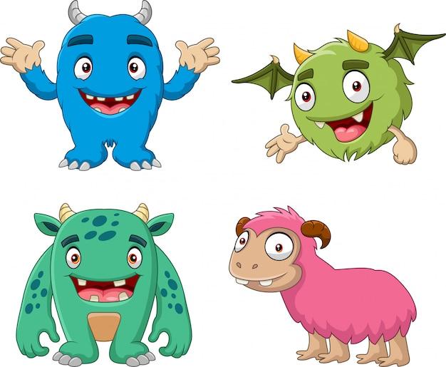 Cartoon lustige monster sammlungssatz Premium Vektoren