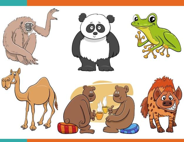 Cartoon lustige tier-comicfiguren eingestellt Premium Vektoren