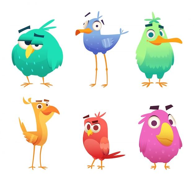 Cartoon lustige vögel. gesichter von niedlichen tieren färbten glückliche vögel des babyadlers. clipart zeichen isoliert Premium Vektoren