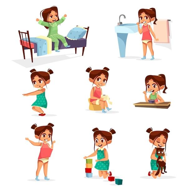 Cartoon Mädchen tägliche Routine Aktivität gesetzt. Weibliche Figur aufwachen, strecken, Zähne putzen Kostenlose Vektoren