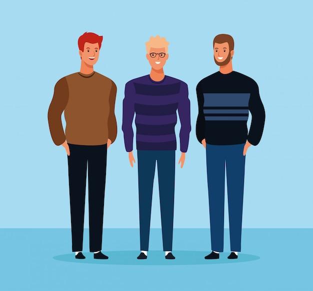 Cartoon männliche freunde stehen Premium Vektoren