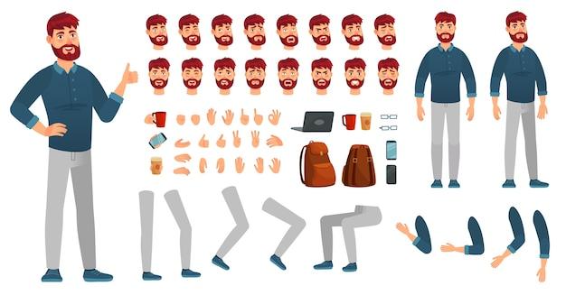 Cartoon männliches charakter-kit. mann in freizeitkleidung, verschiedenen händen, beinhaltungen und gesichtsgefühlen. charakter konstrukteur, hipster oder kreativer geschäftsmann kerl posiert. isolierte vektorsymbole eingestellt Premium Vektoren