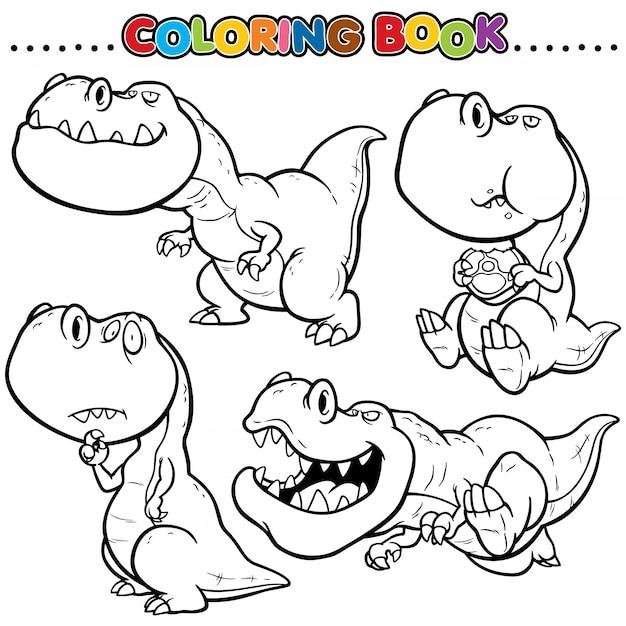 Cartoon malbuch - dinosaurier charakter Premium Vektoren