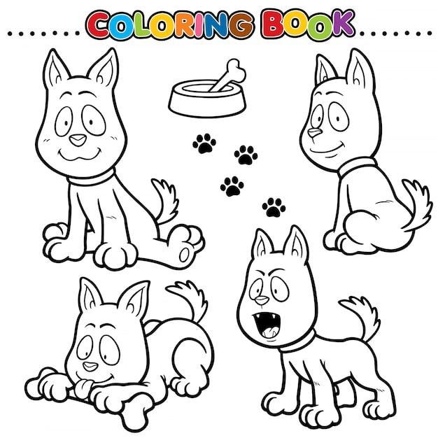 Cartoon malbuch - hund Premium Vektoren
