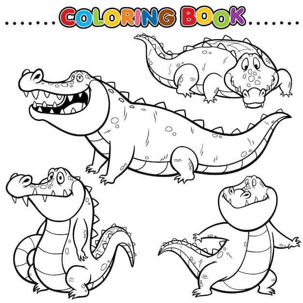 Cartoon malbuch - krokodil Premium Vektoren