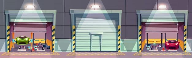 Cartoon-mechanik-box mit auto auf lift, reparatur des fahrzeugs. Kostenlosen Vektoren