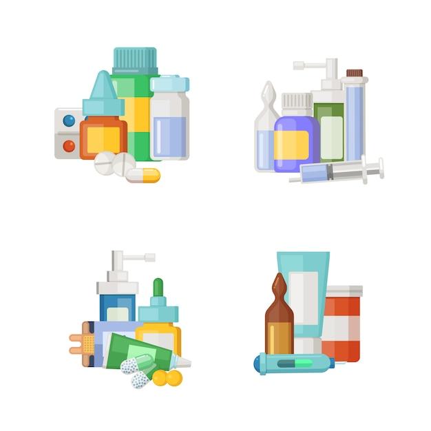 Cartoon medikamente, tränke und pillen haufen gesetzt. medizinische droge für gesundheit, medizinapothekenpillen Premium Vektoren