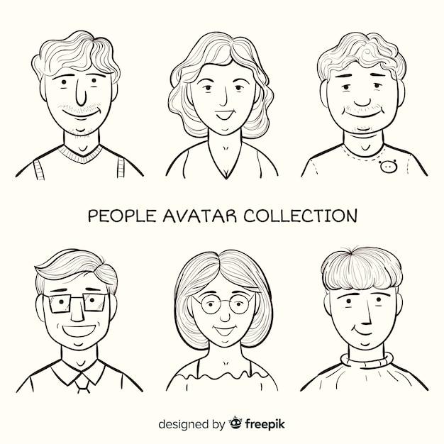 Cartoon menschen avatar pack Kostenlosen Vektoren