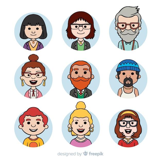 Cartoon menschen avatar-sammlung Kostenlosen Vektoren