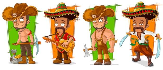 Cartoon mexikaner und cowboys charakter Premium Vektoren