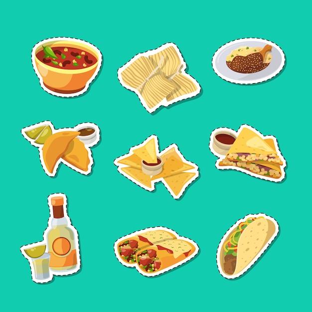 Cartoon mexikanisches essen aufkleber set illustration Premium Vektoren