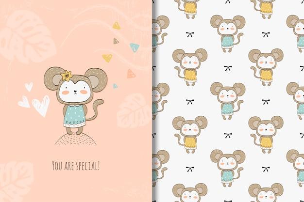 Cartoon monkey card und nahtlose muster Premium Vektoren