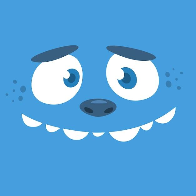 Cartoon monster gesicht avatar. halloween-monster Premium Vektoren