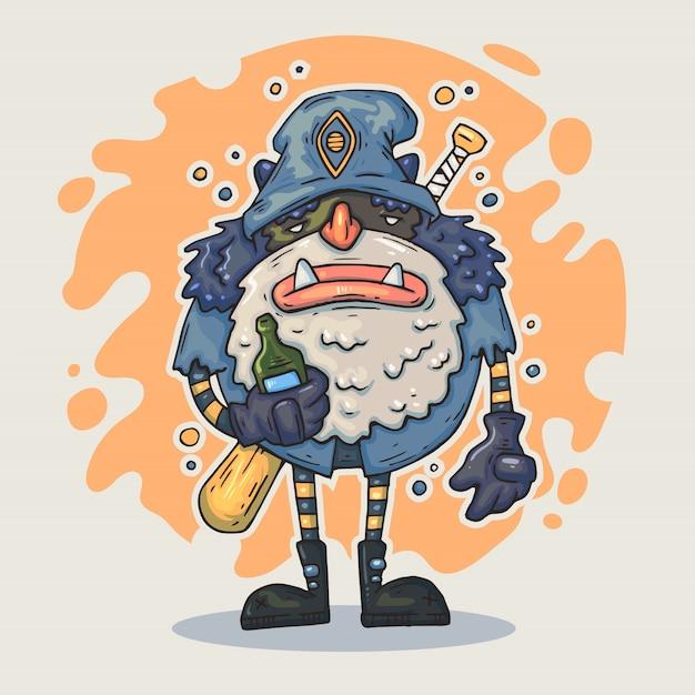 Cartoon monster mit flasche. märchenhafter charakter. Premium Vektoren