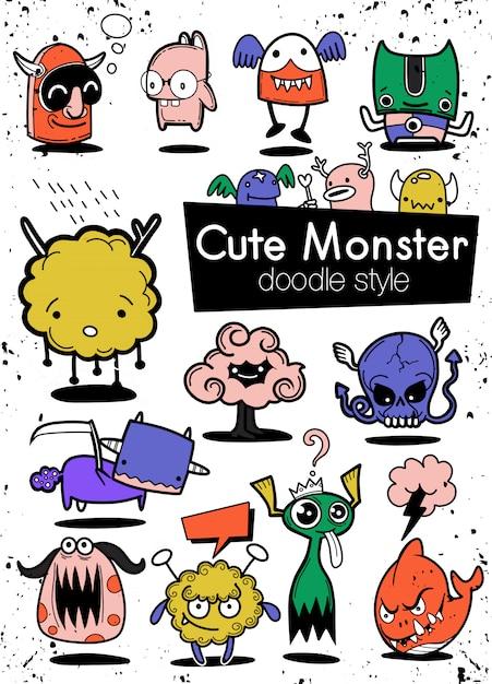 Cartoon-monster-partei Premium Vektoren