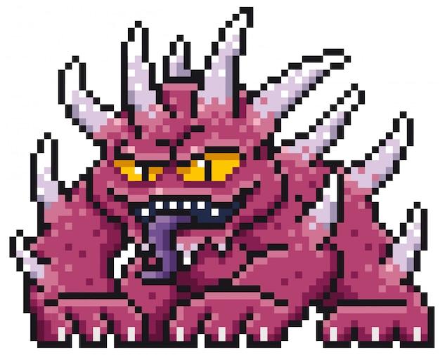 Cartoon-monster-pixel-design Premium Vektoren