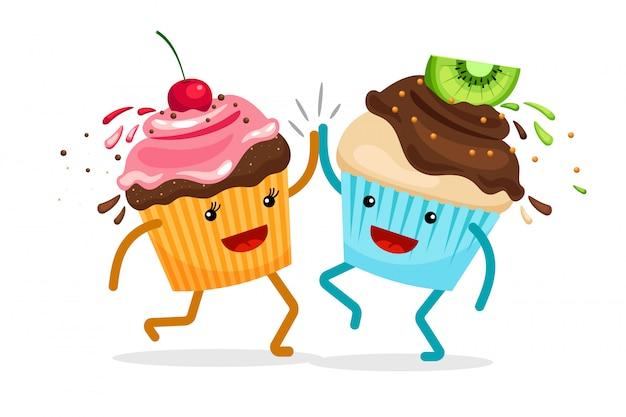 Cartoon muffins für immer freunde. kleine kuchen klatschen handvektorillustration Premium Vektoren