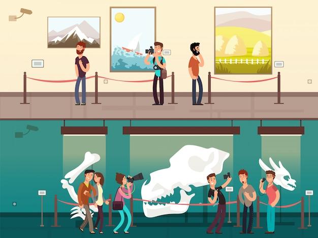 Cartoon museum galerie ausstellung mit gemälden, wissenschaftlichen exponaten und besuchern Premium Vektoren