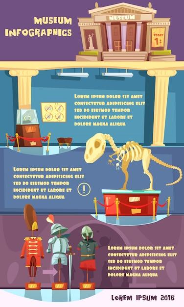 Cartoon museum infografiken Kostenlosen Vektoren