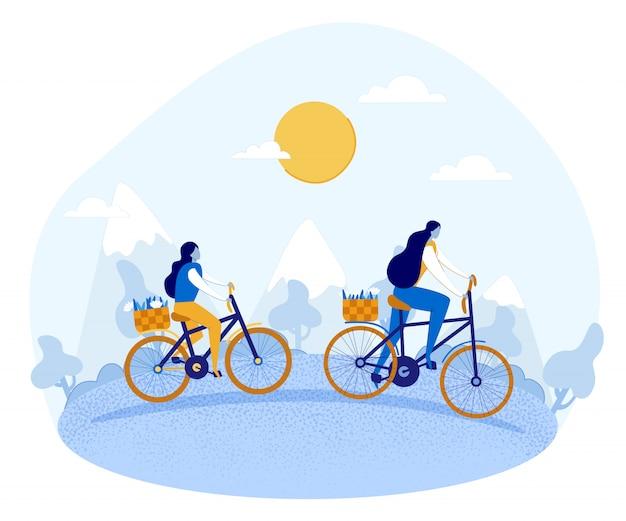 Cartoon mutter und tochter, die fahrräder auf natur reiten. Premium Vektoren