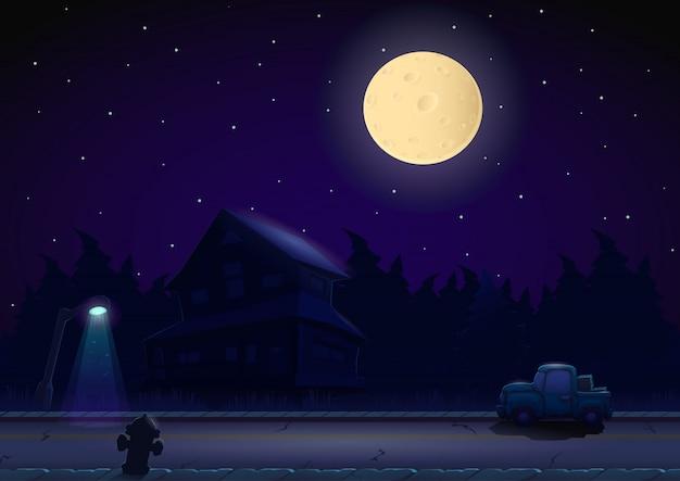 Cartoon nachtlandschaft Premium Vektoren