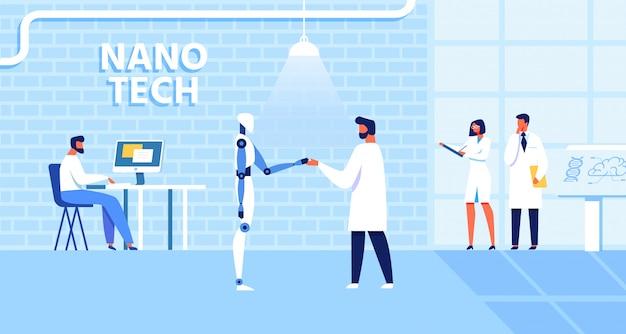 Cartoon nano tech lab mit arbeitenden wissenschaftlern Premium Vektoren