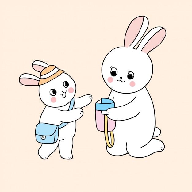 Cartoon niedlich zurück zu schulmutter und babykaninchen. Premium Vektoren