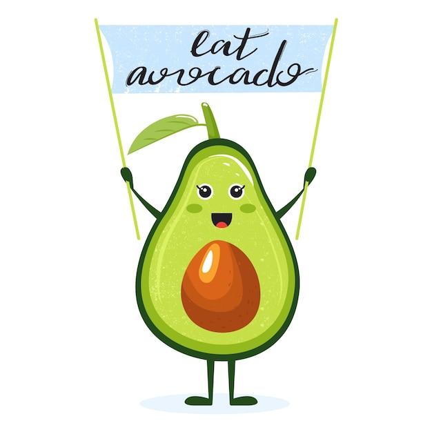 Cartoon niedliche avocado-figur mit flagge und beschriftung. Premium Vektoren
