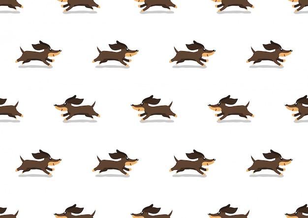 Cartoon niedlichen dackel hund nahtlose hintergrundmuster Premium Vektoren