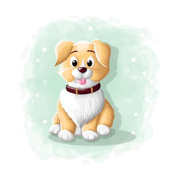 Cartoon niedlichen hund illustration Premium Vektoren