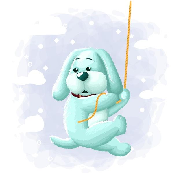 Cartoon niedlichen hund klettern illustration Premium Vektoren