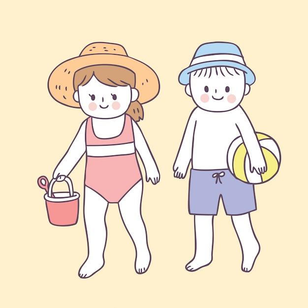 Cartoon niedlichen jungen und mädchen am strand Premium Vektoren