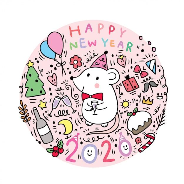 Cartoon niedlichen neujahr mouses feier. Premium Vektoren