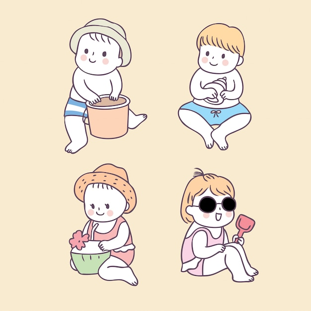Cartoon niedlichen sommer jungen und mädchen am strand Premium Vektoren