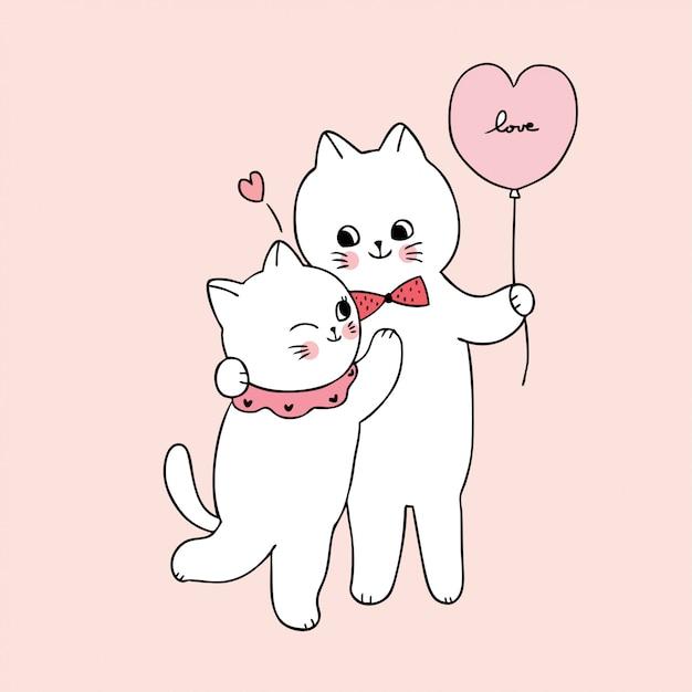 Cartoon niedlichen valentinstag weißen katzenliebhaber umarmen Premium Vektoren