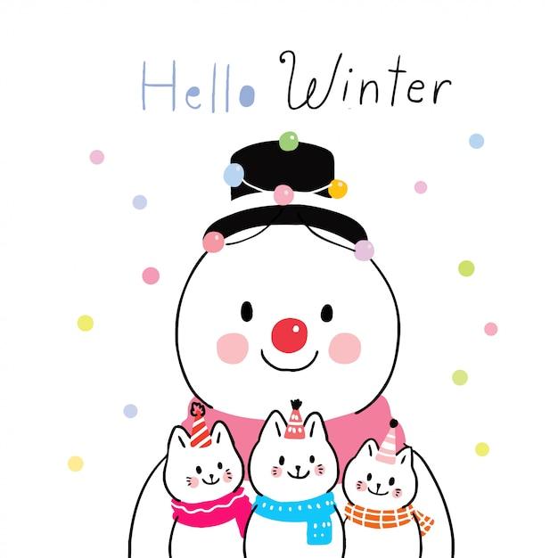 Cartoon niedlichen winter schneemann und katzen Premium Vektoren