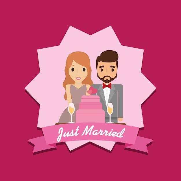 Cartoon Nur Ehepaar Mit Hochzeitstorte Download Der Premium Vektor
