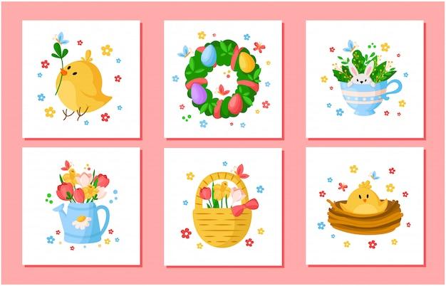 Cartoon ostertag frühlingsblumen set - tulpen, narzisse, narzisse, chiken, weidenzweig, blumenkranz, kaninchen Premium Vektoren