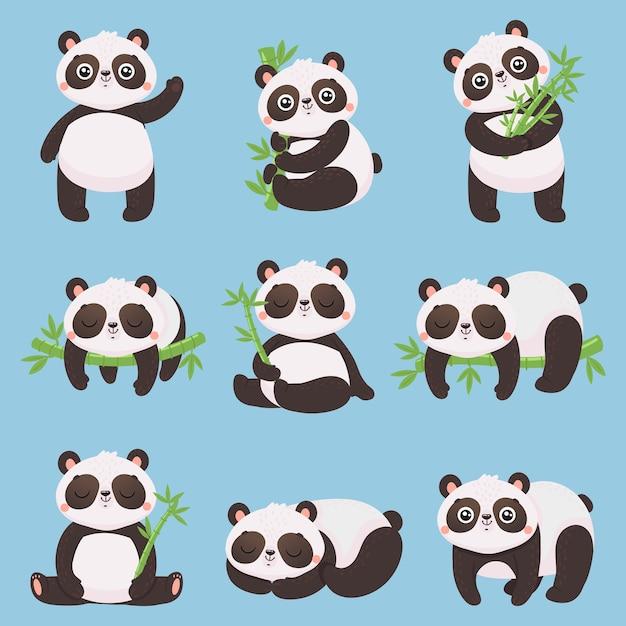Cartoon panda kinder. kleine pandas, lustige tiere mit bambus und niedlichem schlafenden pandabären. Premium Vektoren