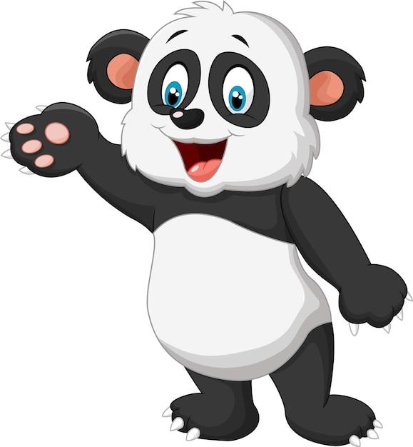 Cartoon-panda-präsentation Premium Vektoren