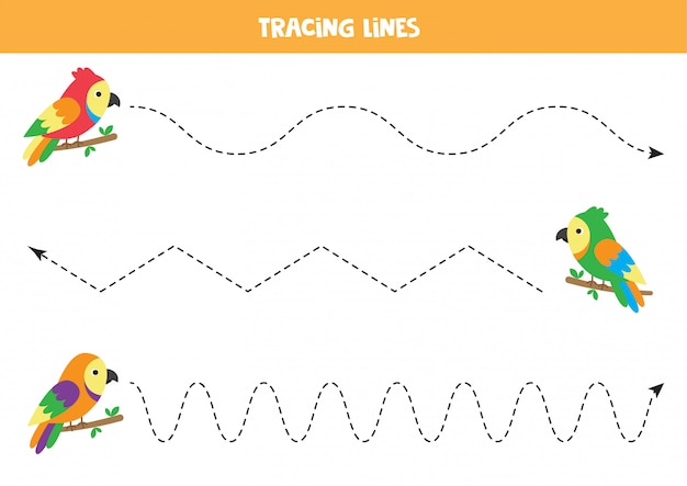 Cartoon papageien linien verfolgen. handschriftpraxis mit vögeln. Premium Vektoren