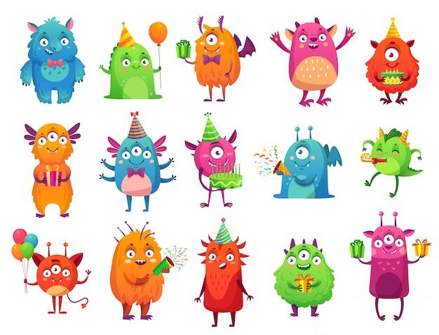 Cartoon party monster. nette monster alles gute zum geburtstaggeschenke, lustiges außerirdisches maskottchen und monster mit grußkuchenillustrationssatz Premium Vektoren