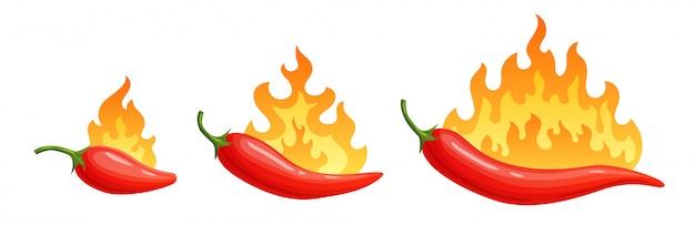 Cartoon peperoni. würziger pfeffer mit feuerflammen und flammenrot-chili-ikonen eingestellt Premium Vektoren