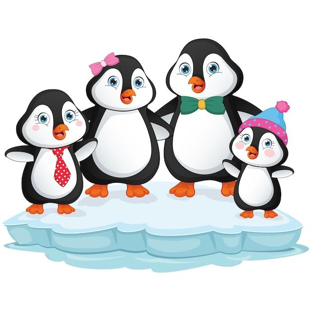 Cartoon-pinguin-familie Premium Vektoren